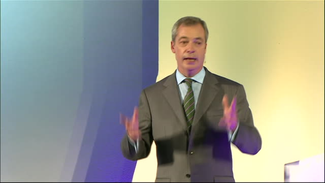nigel farage declares ukip a threat to the entire british political class during his speech at the 2014 ukip annual conference - 2014 stock videos & royalty-free footage
