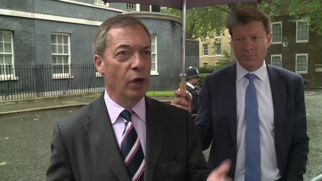 nigel farage delivers letter to number 10 outlining brexit demands england london downing street nigel farage mep alongside richard tice mep... - nhs stock videos & royalty-free footage