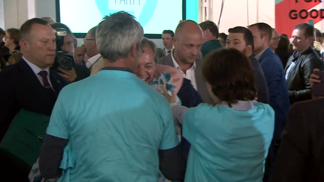 nigel farage greeting and speaking to crowds at a brexit party rally - brexit party stock videos & royalty-free footage
