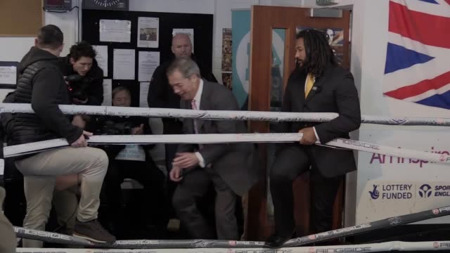 nigel farage has refused to stand down candidates in labour marginal seats during a visit to a boxing club in ilford, east london with heavyweight... - ilford stock videos & royalty-free footage