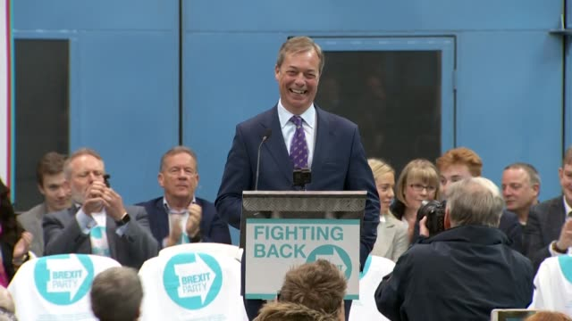 nigel farage laughing at launch event of the brexit party in coventry - launch event stock videos & royalty-free footage