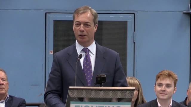 nigel farage launches the brexit party at an industrial unit in coventry. in his speech, the former ukip leader explains his reasons for founding the... - brexit party stock videos & royalty-free footage
