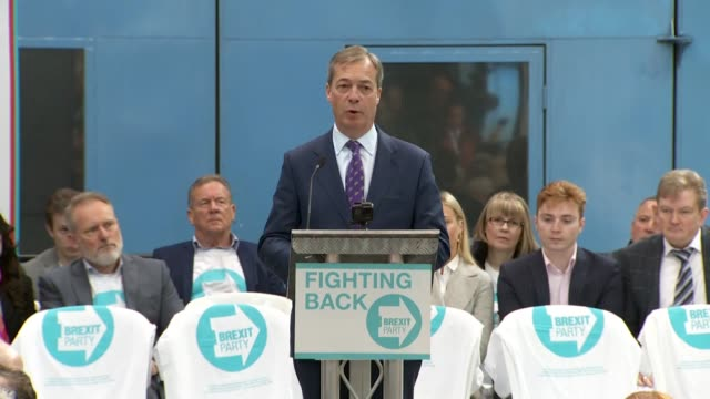 nigel farage leader brexit party speaking at launch event for party we can win the european elections and we can put the fear of god into our mp's in... - launch event stock videos & royalty-free footage