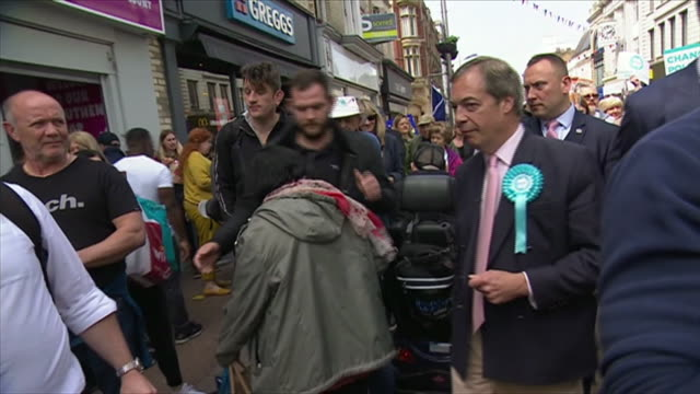 nigel farage on the brexit party campaign trail in essex - politics stock videos & royalty-free footage