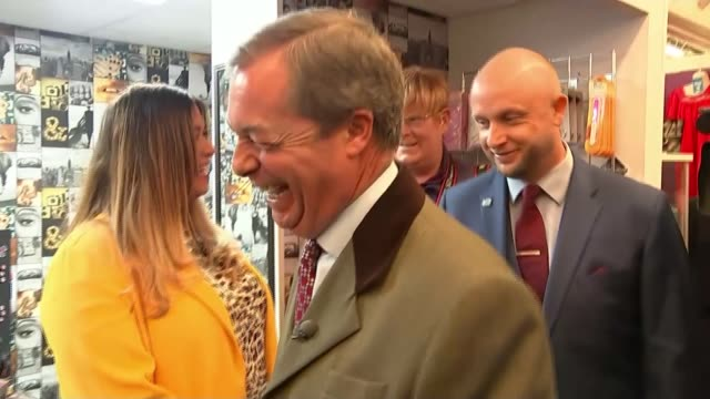 nigel farage pushes for hard brexit on 'leave means leave' campaign tour; uk, lancashire / greater manchester; nigel farage campaigning, vox pops,... - top of the pops stock videos & royalty-free footage