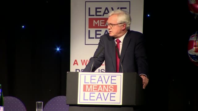 nigel farage pushes for hard brexit on 'leave means leave' campaign tour bolton uk nigel farage and david davis at leave means leave event greater... - bolton greater manchester stock videos and b-roll footage