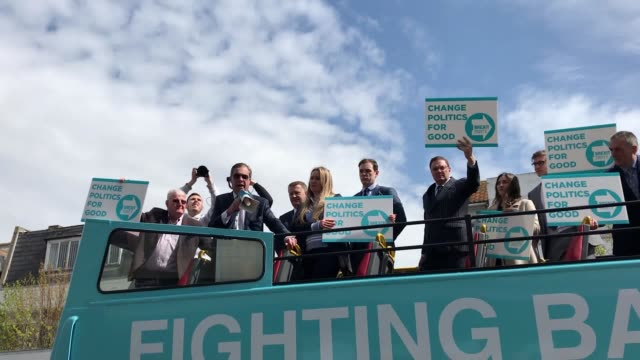 nigel farage rallies support for his new brexit party on a walkabout tour of the seaside town where ukip gained its first elected mp in 2014. his... - brexit party stock videos & royalty-free footage