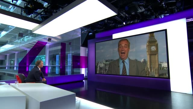 stockvideo's en b-roll-footage met nigel farage reportedly a 'person of interest' in fbi investigation into donald trump and russia; england: london: gir: int nigel farage 2-way... - channel 4 news