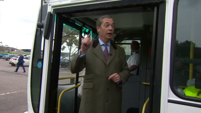 Nigel Farage saying 'the people's army is being remobilised' as he boards a Leave Means Leave campaign bus