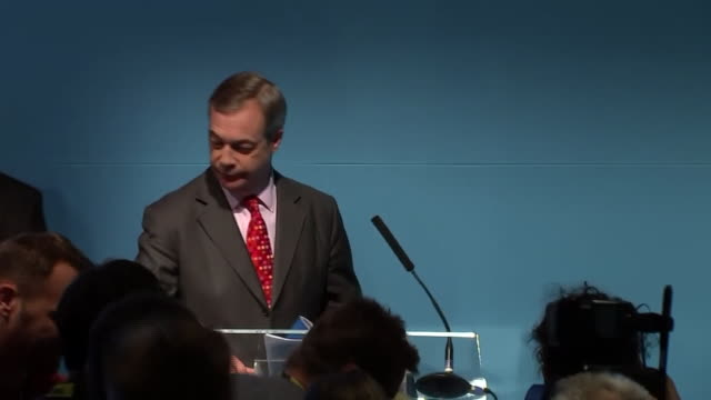 nigel farage speaking at the brexit party manifesto launch - nigel farage stock videos & royalty-free footage