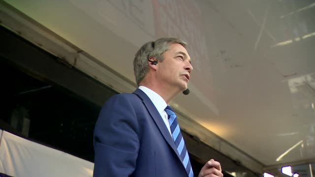 nigel farage speaking at the finale of the leave means leave march in london - marching stock videos and b-roll footage