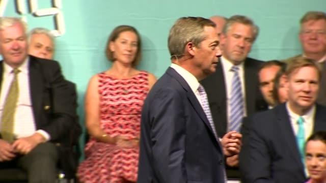 nigel farage speech at 'the brexit party: the big vision rally'; england: birmingham: nec: int nigel farage mep speech sot - mep stock videos & royalty-free footage