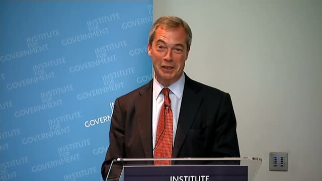 Nigel Farage speech to Institute for Government Nigel Farage speech continued SOT MPs a pretty despised bunch loss of trust/ advocates 'recall'...