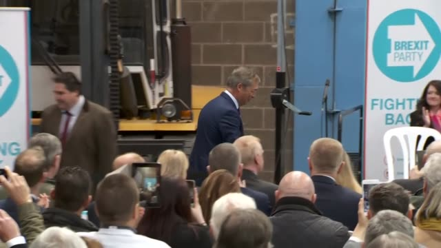 nigel farage taking to the stage at a brexit party rally - brexit party stock videos & royalty-free footage