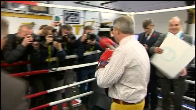 nigel farage throwing punches whilst visiting a boxing gym on the general election campaign trail - boxing stock videos & royalty-free footage