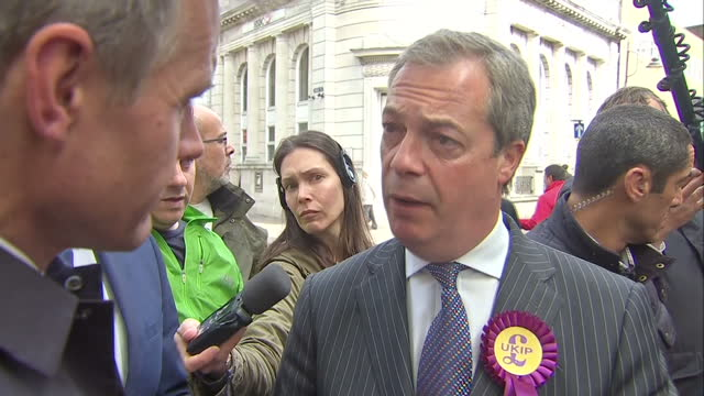 nigel farage ukip take final days campaigning to ramsgate shows exterior shot nigel farage answering question on the low points of ukip's campaign on... - ramsgate stock videos & royalty-free footage