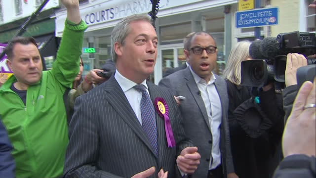 nigel farage ukip take final days campaigning to ramsgate shows exterior shots nigel farage talking about the highs lows of the campaign so far on... - ramsgate stock videos & royalty-free footage