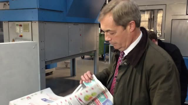 nigel farage visits a printing press for the brexiteer newspaper and joins a rally in bassetlaw to speak alongside mep martin daubney - nigel farage stock videos & royalty-free footage