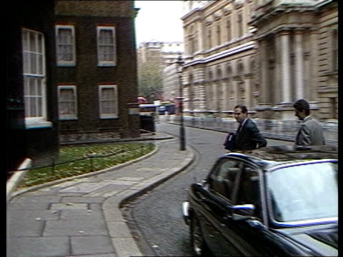Nigel Lawson gives Autumn Statement MS Leon Brittan Home Secretary from car into No 10