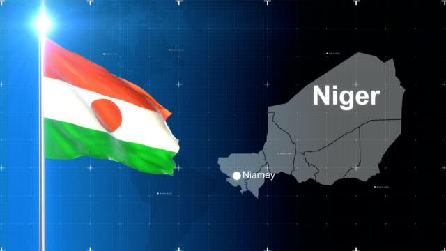 地図とニジェールの国旗 - ニジェール点の映像素材/bロール