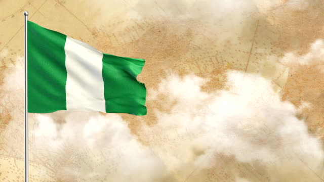 Nigeria Flag with Map