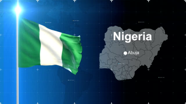 nigeria flag with map - nigerian flag stock videos & royalty-free footage