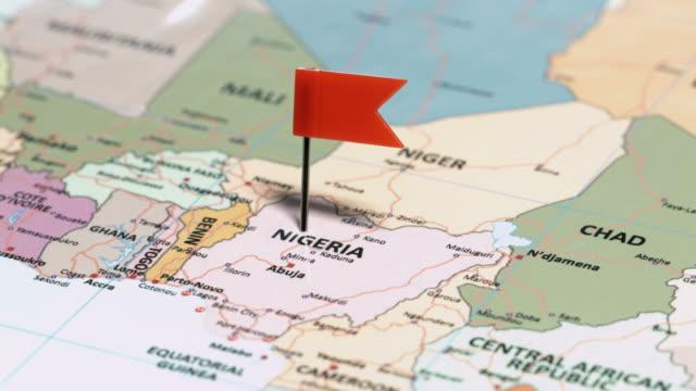 nigeria with pin - nigeria stock videos & royalty-free footage