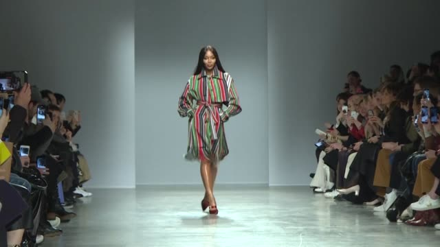 nigerian fashion designer kenneth ize makes a storming paris fashion week debut with his fairy godmother supermodel naomi campbell closing the show - godmother stock videos & royalty-free footage