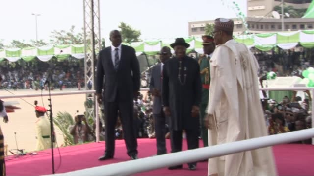 nigerian president muhammadu buhari takes his oath of office with his wife aisha buhari, the new first lady of nigeria during his inauguration... - first lady stock videos & royalty-free footage