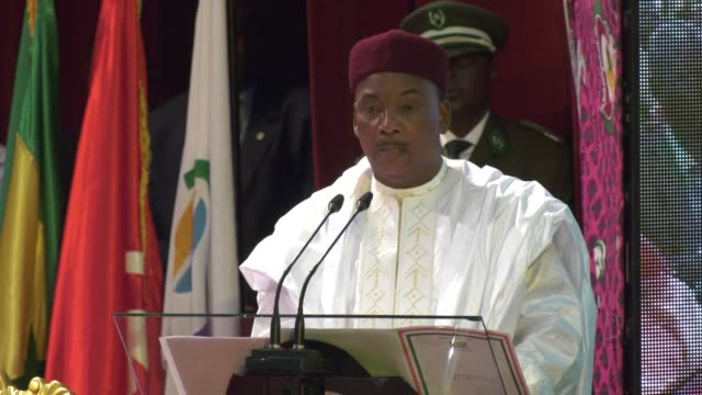 niger's president mahamadou issoufou says his country has been attacked by terrorist groups and there have been many casualties in comments made... - mahamadou issoufou stock videos and b-roll footage