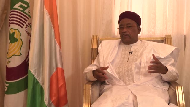 niger's president mahamadou issoufou tells afptv that the launch of the african continental free trade area is the biggest historic event for the... - mahamadou issoufou stock videos and b-roll footage