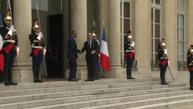nigers president mahamadou issoufou visits french president francois hollande as both countries battle against jihadist attacks - mahamadou issoufou stock videos and b-roll footage