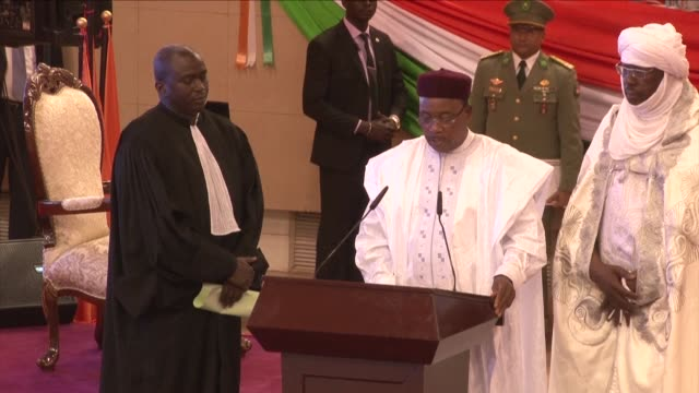nigers president mahamadou issoufou was sworn in saturday to a second five year term after being re elected in a run off vote last month that was... - mahamadou issoufou stock videos and b-roll footage