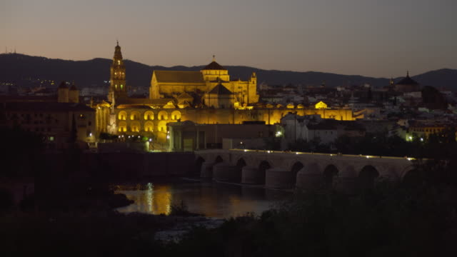 MS night across Roman bridge to Cathedral-Mosque, aka Great Mosque (mezquita) and Cathedral