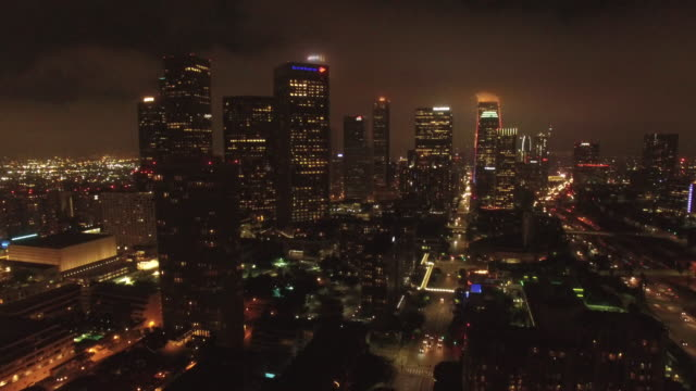 Night Aerial Downtown Los Angeles