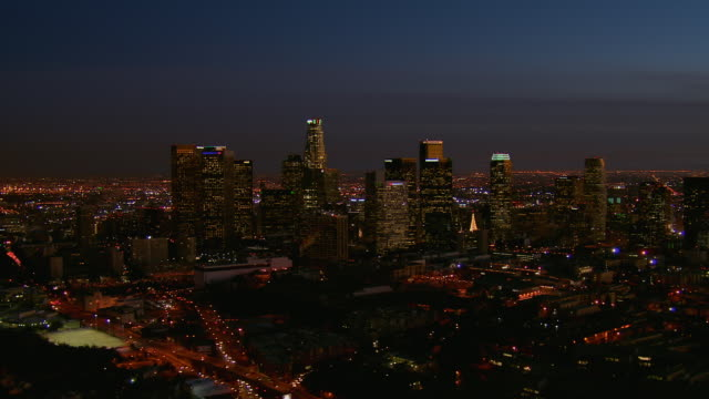 night aerial of downtown los angeles - land vehicle stock videos & royalty-free footage