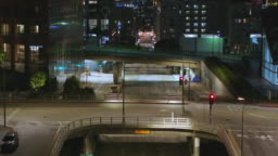 Night aerial of empty Downtown Los Angeles street during the Covid-19 pandemic