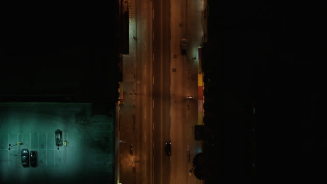 night aerial over la city streets near downtown, straight down angle - aerial view stock videos & royalty-free footage