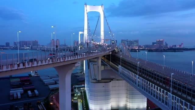 night aerial view of a big bridge over the sea - ferry stock-videos und b-roll-filmmaterial