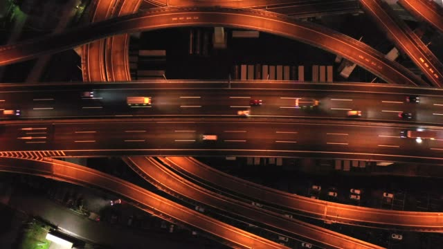 night aerial view of highway - overpass road stock videos & royalty-free footage