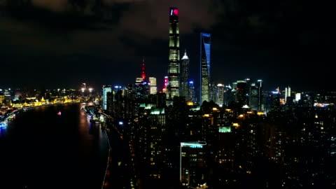 night aerial view of shanghai city,shot by drone - urban sprawl stock videos & royalty-free footage