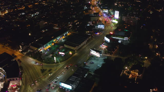 night aerial view of sunset strip in los angeles - west hollywood stock videos & royalty-free footage