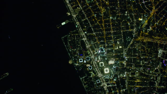 night aerial view of world trade center in new york city - hd format stock-videos und b-roll-filmmaterial