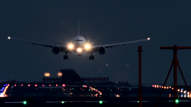 night airfield - landing touching down stock videos & royalty-free footage
