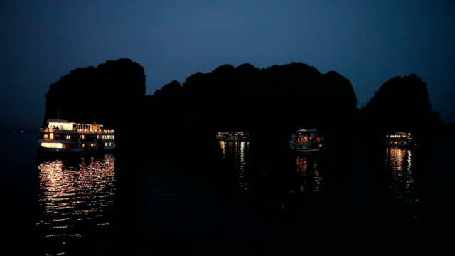 night at the famous halong bay in vietnam - anchored stock videos & royalty-free footage