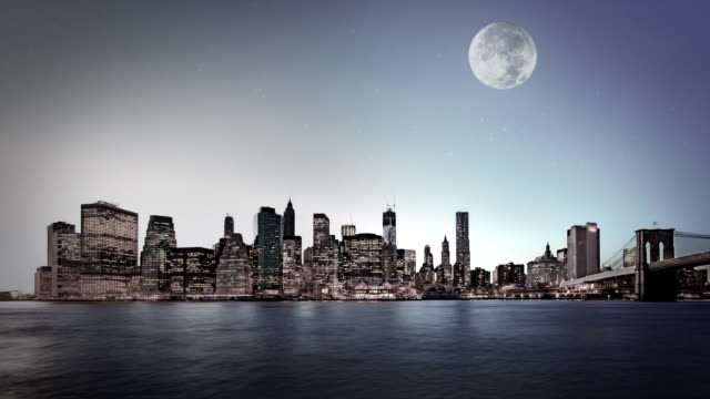 night background with silhouette of city and moon