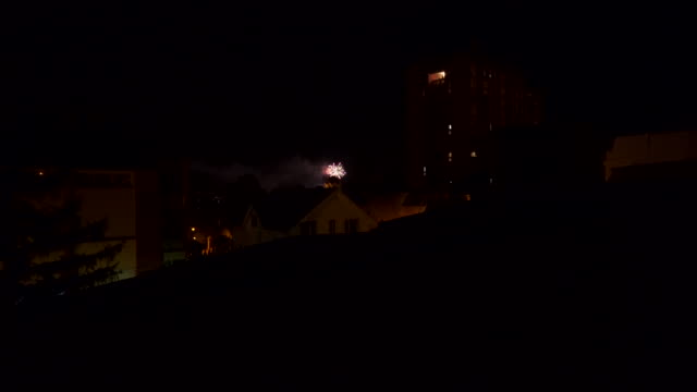 night balcony view  fireworks stock video - sash window stock videos and b-roll footage