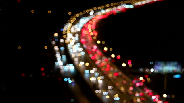 Night Bokeh View of Beijing Traffic at rush Hour