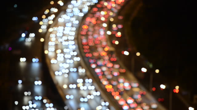 Night Bokeh View of Crowded Traffic / Beijing, China
