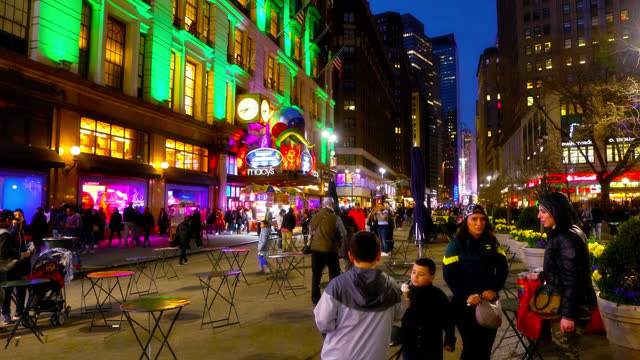 night broadway. macy's shopping mall - walkable city stock videos & royalty-free footage